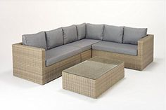 West Country Rattan Garden Large Corner Sofa is made up from three modular two seater sofas and a glass topped coffee table Outdoor Garden Furniture