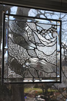 Study in Textured Clears -- Medium Stained Glass Panel. $200.00,  14 by 14