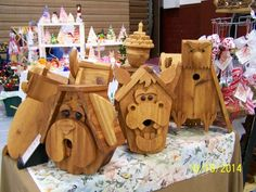 Our Dome Creations, Cedar wood bird houses at a craft show
