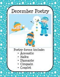 This product is a collection of resources for use when teaching students how to write poetry. These are not lesson plans. The products supplement your lesson or unit on writing poetry and are designed with a selection of December themed decorated sheets. Specific types of poetry are Acrostic, Haiku, Diamante, Cinquain, and Couplet Included in the packet...mini-posters for display, worksheets for practicing writing poetry. and a collection of seasonal decorated sheets for writing poetry
