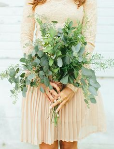 All-Greenery Wedding Bouquet For the Non-Traditional Bride Eucalyptus Bouquet, Types Of Eucalyptus, Seeded Eucalyptus, Eucalyptus Leaves, Floral Wedding, Wedding Colors, Wedding Flowers, Wedding Day, Barn Weddings