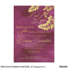Fall in Love Cranberry and Gold Leaves Wedding Card - gold wedding gifts customize marriage diy unique golden Elegant Wedding Invitations, Wedding Invitation Cards, Wedding Cards, Invites, Gold Wedding, Diy Wedding, Wedding Flowers, Wedding Ideas, Wedding Decor