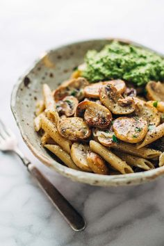 Simple Mushroom Penne with Walnut Pesto - made with easy ingredients like Parmesan cheese, whole wheat penne, mushrooms, garlic, and butter. Vegetarian.