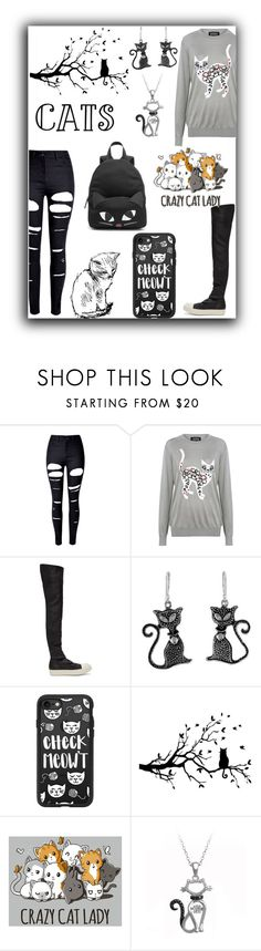 """""""Crazy cat lady"""" by queenmadhatteres ❤ liked on Polyvore featuring WithChic, Markus Lupfer, Rick Owens, NOVICA, Casetify and Lulu Guinness"""