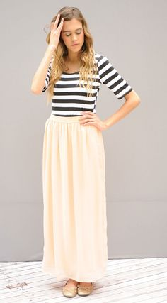 Only $18.99! | Ok can these can anymore stylish? Such cute black and white stripes with a lined chiffon bottom skirt. Elastic belt to fit any waist perfectly. | Find them now at www.groopdealz.com