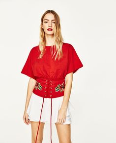 T-SHIRT WITH EMBROIDERED CORSET-NEW IN-WOMAN | ZARA United States
