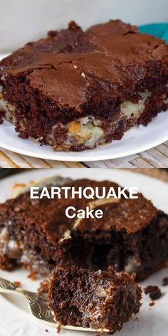 Earthquake Cake - Feel the earth move with this luscious dessert! It may not be the prettiest dessert but it sure tastes delicious. Cake Mix Desserts, Chocolate Desserts, Delicious Desserts, Chocolate Dump Cakes, Sheet Cake Recipes, Dump Cake Recipes, Dessert Recipes, Food Cakes, Cupcake Cakes