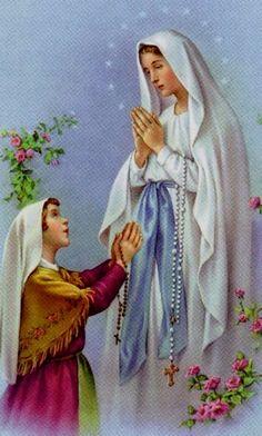 Our Lady of Lourdes Catholic Prayers, Catholic Art, Religious Art, Happy Birthday Wishes Song, Santa Bernadette, Religion, Our Lady Of Lourdes, Mama Mary, Blessed Virgin Mary