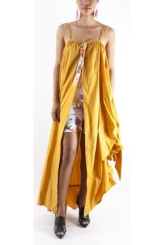 Robe Manteau Bretelle Moutarde by Christiane Ducteil fashion designer from Martinique FWI