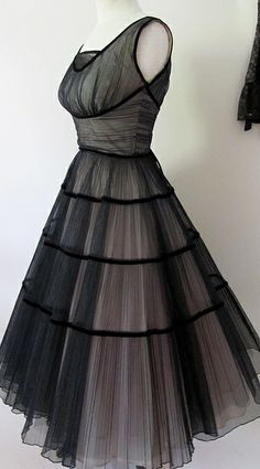 1950s Best Party dress black and pink tulle .