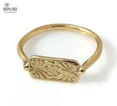 14K GOLD ring floral patterned ring delicate gold ring