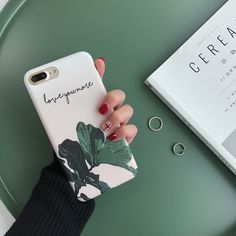 South Korea Simple Green Leaves Case for iPhone 7 7plus IMD Quality Soft Case for iPhone 6 6s 6plus 6splus TPU Cover