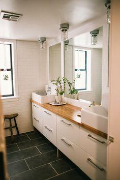 Clean, simple modern bathroom makeover