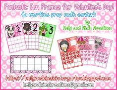 Fantastic Ten Frames for Valentine's Day! {a one-time prep math center} Thing 1, Math Addition, Ten Frames, Writing Numbers, One Time, Kindergarten Math, New Tricks, Math Lessons, Math Centers