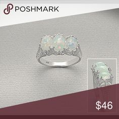 Sterling Silver Opal Ring Top Quality Lab-Created Opal. 925. Sterling Silver three stones Ring Jewelry Rings
