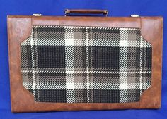 VTG Backgammon Game Set Brown Cream Chips Faux Leather Cloth Carrying Case Board #Unknown