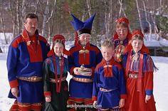 Karasjok (Kárášjohka) in Norway. Another Northern Saami group.  The same basic costume is also worn in Tana. You can see the 'wings' on the fur leggings on the man.