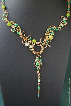 Necklaces, handmade beads.  Order Collier Creek Forest.  Studio Mary Rose Time Gems.  Fair Masters.  agate