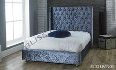WINGED Crushed Velvet Fabric Upholstered Bed Frame Storage, 4'6ft Double, 5ft  | eBay