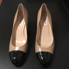L.K. Bennett Bundy Heels Gorgeous taupe leather with black patent leather cap toe and heels. Only worn indoors. In great condition! LK Bennett Shoes Heels
