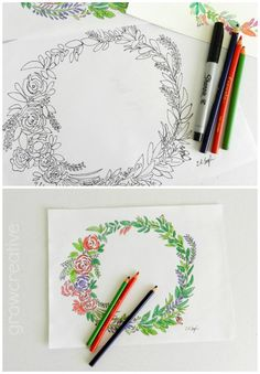 Summer Coloring Pages For Teens Free Floral Wreath Page