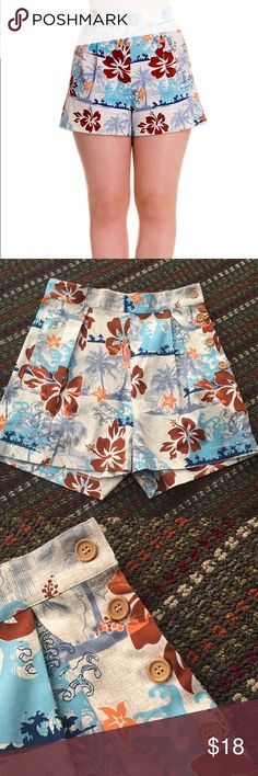 Hell bunny vixen tiki shorts A wonderful staple to any wardrobe. The Hell Bunny Tiki shorts feature a blue and burgundy tropical floral print and high waist cut that gives these the perfect vintage inspired touch! In impeccable condition. Size XS. So summery and cute! Modcloth Shorts