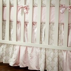 Pink and Taupe Damask Crib Bedding | Girl Crib Bedding |Carousel Designs