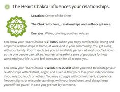 The Heart Chakra--Open Chakra Symptoms: Unconditional Love, Devotion, Emotional Balance / Blocked Chakra Symptoms: Selfish, Possessive, Unfriendly