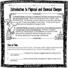 Introduction to Physical and Chemical Changes Worksheet ...