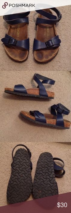 Used Birkenstock Sandals 35 Navy Espadrilles Birks. Used condition please use zoom feature to make judgement calls. Ask questions. Birkenstock Shoes Sandals