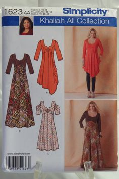 Simplicity 1623 Misses'/Women's Knit Dress in Two Lengths and Long Dress with Knit Bodice