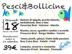 Ricominciano le serate degustazione ACQUOLINA IN BOCCA! il 18 settembre serata PESCI & BOLLICINE