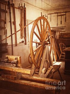 Old Wooden Treadle Lathe And Tools Vintage Photograph by Lee Craig - Old Wooden Treadle Lathe And Tools Vintage Fine Art Prints and Posters for Sale #antiques #leecraig #photography