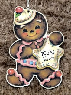 You're Sweet Gingerbread Man Gift or Scrapbook Tags #70 by HugsAndStitchesPrims on Etsy https://www.etsy.com/listing/189573028/youre-sweet-gingerbread-man-gift-or