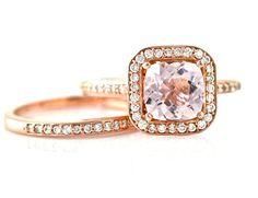 14K Cushion Morganite Ring Morganite Engagement Ring & Wedding Band Diamond Halo Rose Gold Wedding Set