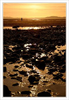 The sunset over the Solway on the coast of Cumbria, England.