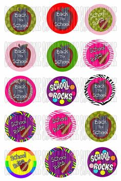Digital Bottle Cap Images BACK TO SCHOOL  060 4x6 by Bowtagious, $2.25