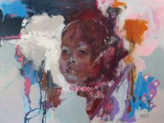 Buy AFRICA, a portrait painting on canvas by professional artist Christine Crowley of a young African child, size 80 x available at StateoftheART. African Children, Africa Art, Crowley, Online Art Gallery, Art For Sale, Portrait, Canvas, Artist, Painting