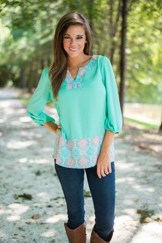 Effortlessly Endearing Blouse, Mint