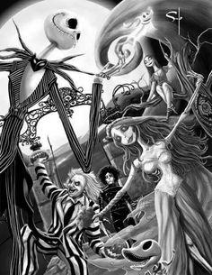 Jack skellington corpes bride bettle juice Tim Burton artwork