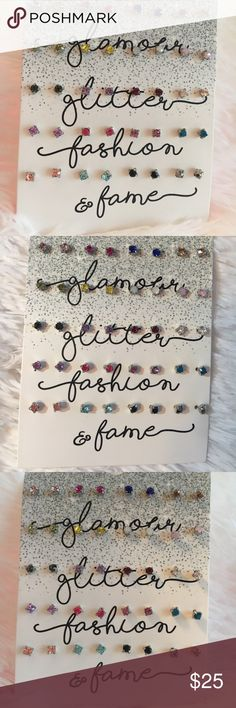 👑Glamour, Glitter, Fashion, and Fame Earring Set Fun Fashion Jewelry. This 20 piece earring set has earrings for every mood and occasion. All earrings come with safety style backings. I ship all Jewelry in a box, packaged beautifully, with a personalized thank you note. You can bundle additional items in my closet to save. I have something for everyone. Check out my tropical 🐠 🌴 inspired bags and 🧢🧢 2 for 10 Jeans! Jewelry Earrings