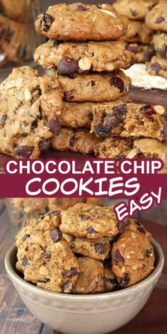 These Easy Chocolate Chip Cookies are a little fancier than the beloved original and they're the best too! Dates are added along with a few more ingredients to make texture packed vegan cookies. Irresistible to everyone who passes the cookie jar. #vegancookies #veganchocolatechipcookies #chocolatechipcookiesrecipe #easychocolatechipcookies #datechocolatechipcookies #bestchocolatechipcookies Healthy Cake Recipes, Dump Cake Recipes, Homemade Cake Recipes, Easy Cookie Recipes, Delicious Vegan Recipes, Best Dessert Recipes, Vegan Desserts, Easy Desserts, Baking Recipes
