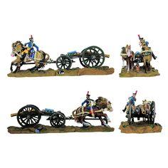 """Publicado por la editorial """"Editions Atlas"""" en una serie titulada """"Soldados y piezas de artillería"""" para reconstituir lo que era el tren de artillería de la época napoleónica con el cañón de Gribeauval de 8 libras, el armón y el conductor de la junta de caballos que durante largo tiempo aseguró la supremacía de los ejércitos imperiales."""