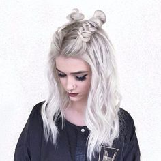 Icy blonde double braid buns