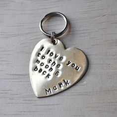 GIFT Key chain heart I love you to the moon and back by dogidtag, $13.50