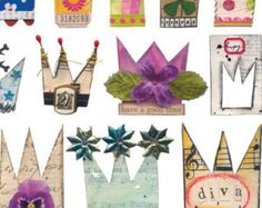25 Handmade PARTY HATS Colorful Flowers Stripes by ARTchixStudio