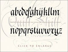 Gothic calligraphy alphabet in Fraktur style