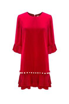 Vestido rojo con perlas TERIA YABAR Otoño Invierno 2019 2020 TERIA YABAR Tunic Tops, Blouse, Long Sleeve, Sleeves, Women, Crew Neck, Short Dresses, Fall Winter, Long Dress Patterns