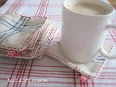Cute mug rugs from old linens