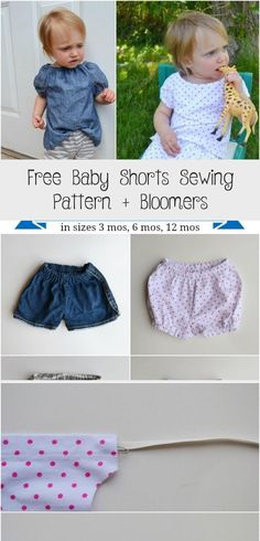 I've got a treat for you today! Now that it's hot most days, I'm ready for baby shorts and bloomers for my baby, and I'm sure she is too. Baby Bloomers Pattern, Basic Shorts, Organic Baby Clothes, Straight Stitch, Embroidered Tunic, Free Baby Stuff, Baby Boy Outfits, Patterned Shorts, Dress Outfits